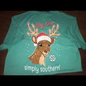 Simply Southern Reindeer Santa Christmas Tee